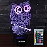 LJOYKID Owl 3D Led Night Light - Optical Illusion 7 Colors Touch Table Desk Visual Lamp with Remote Control Lamp for Gifts Toys for Children Kids
