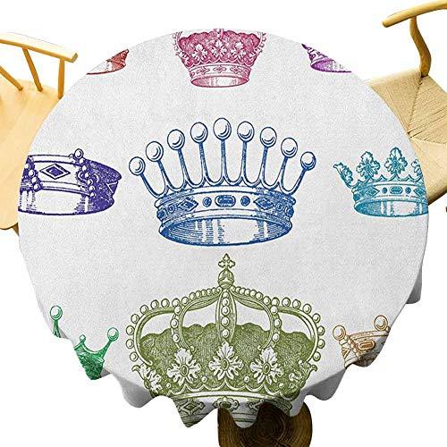 VICWOWONE - Mantel redondo de 50 pulgadas para cocina, estilo barroco, colorido rococó, retro, victoriano, floral, que no se decolora, multicolor