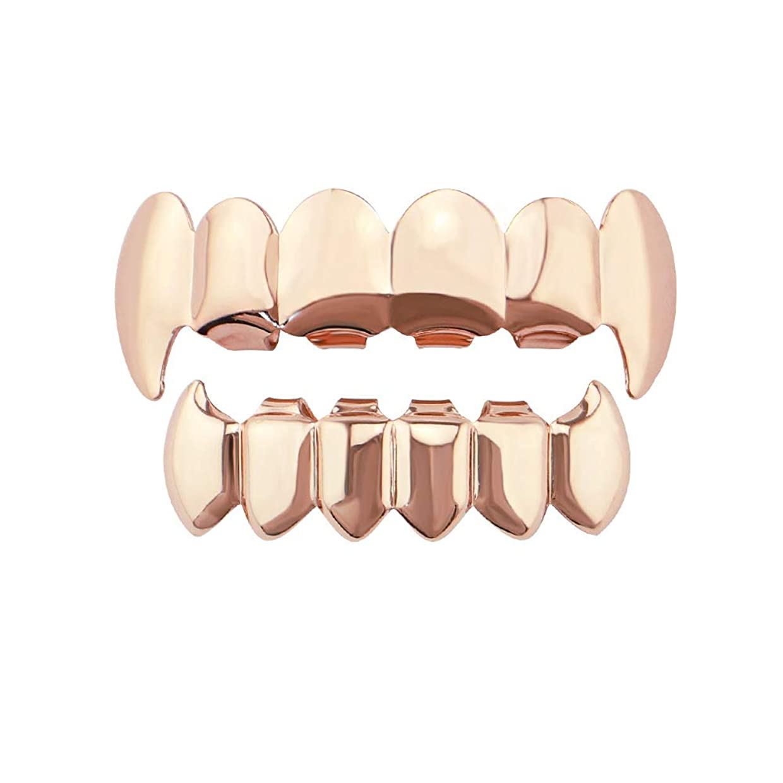 勤勉引き渡す騒YHDD 光沢のあるヒップホップ歯の上と下の歯の吸血鬼の牙のグリルは、Holleweenのギフトのために設定します。 (色 : ローズゴールド)