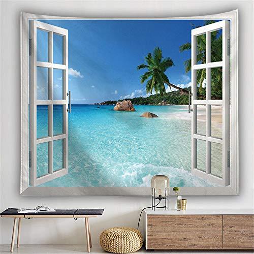 LOVEYF TapisserieWandbehang,Außerhalb des Fensters Meergrün Kokosnussbaum Muster Wandteppiche Wandbehang Strandtuch Und Tagesdecke Für Zu Hause Raumdekoration