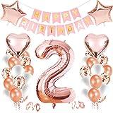 Luftballon 2. Geburtstag Rosegold,Happy Birthday Folienballon,Geburtstagsdeko 2 Jahr Mädchen,Happy Birthday Dekoration Zahl,Riesen Folienballon,Nummerndekoration,Happy Birthday Dekoration