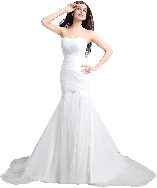 YSFS Women's Sweetheart Pleat Mermaid Bridal Wedding Dress Wedding Gowns