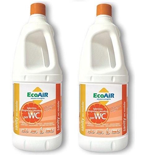 Prime 2 stuks - fles met 2 liter DISGREGANTE WC Sanity Mobile met de nieuwste oranje - vloeistof voor watertank zwart toilet camper - compleet met DISGREGANTE Aqua KEM - Made Italy