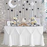 NSSONBEN Falda de mesa de tul blanco con falda de mesa para baby shower, cumpleaños, boda, despedida de soltera, decoración de mesa (4,5 m, 427 x 77 cm)
