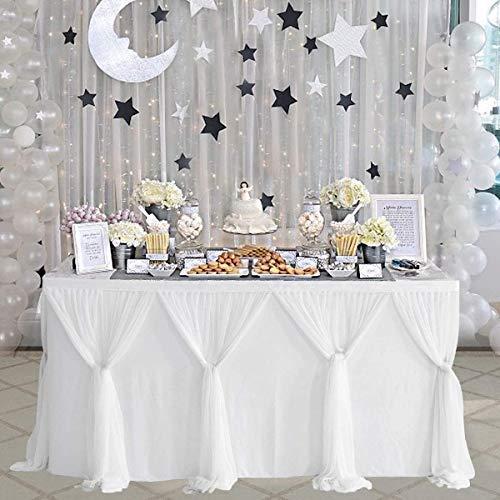 NSSONBEN Falda de mesa de tul blanco con faldón mullido y tutú para baby shower, cumpleaños, boda, despedida de soltera, decoración de mesa (2 yardas/183 cm x 77 cm)