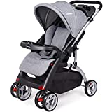 Baby Stroller, Adjustable Compact Folding Pushchair, with Storage Basket, Detachable Food Tray, Lockable