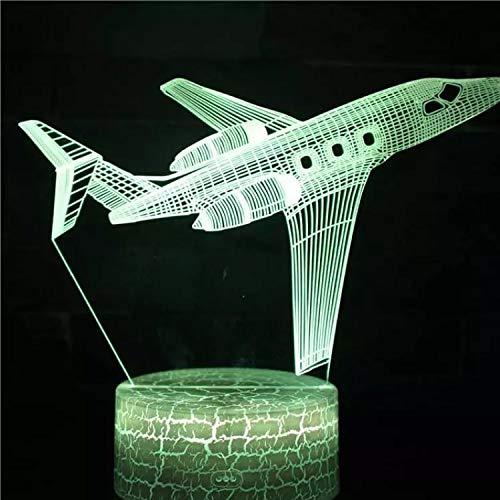 Avión de vuelo único base agrietada lámpara de mesa pequeña creativa lámpara decorativa creativa luz de noche multicolor de acrílico lámpara LED lámpara de mesa multicolor