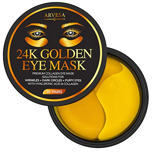 Under Eye Collagen Patches - 24K Gold Anti-Aging Mask - Pads for Puffy Eyes & Bags, Dark Circles and Wrinkles, with Hyaluronic Acid, Deep Moisturizing | 60 Patches - New Formula