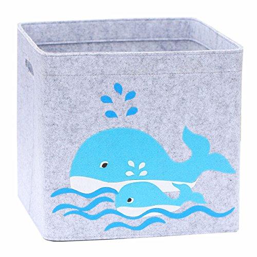 Lucky Sign - Boîte de Rangement Enfant Panier à Jeux pour Fille et Garcon Bac à Jouets Chambre Bebe, 33x33x30cm - Baleine