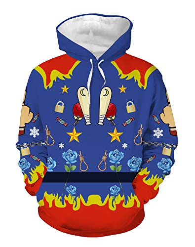 QYIFIRST Sudadera a Capuche Suicide Squad Harley Quinn Harleen Quinzel Cosplay Disfraz Impression 3D Anime Unisexe Jersey Azul 3XL (pecho 119cm)