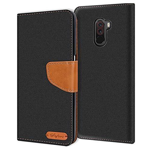 Verco kompatibel mit Xiaomi Pocophone F1 Hülle, Schutzhülle für Pocophone F1 Tasche Denim Textil Book Hülle Flip Hülle - Klapphülle Schwarz