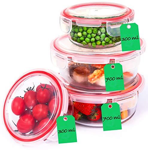 Lot de 4 boîtes de conservation rondes en verre borosilicate avec couvercle - Hermétique - Passe au lave-vaisselle
