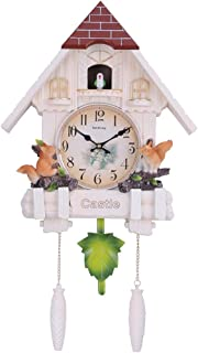 ZJDU Minimalist Modern Design Cuckoo Clock,Living Room Wall Decor Handcrafted Wood Cuckoo Clock W/Adjustable Volume & Night Sensor,Antique Clock Quartz Pendulum Wall Clock Home Decor