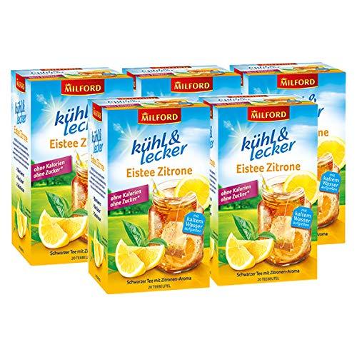 Milford kühl & lecker Eistee Zitrone, 20 Teebeutel / 5er Pack