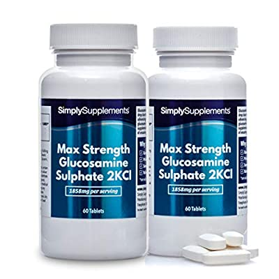 Maximum Strength Glucosamine Sulphate 2KCl | 1858mg Per Serving | 2 x 60 Tablet Bottles = 120 Tablets Total | Manufactured in The UK
