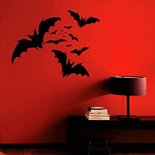 Pegatinas De Pared Jhping Bat Group Animal Wall Stickers Vinilo Interior Design Artist Living Room Decorating Room Bedroom Murals Halloween Wallpaper 3564 @ Dark Grey_55X42Cm