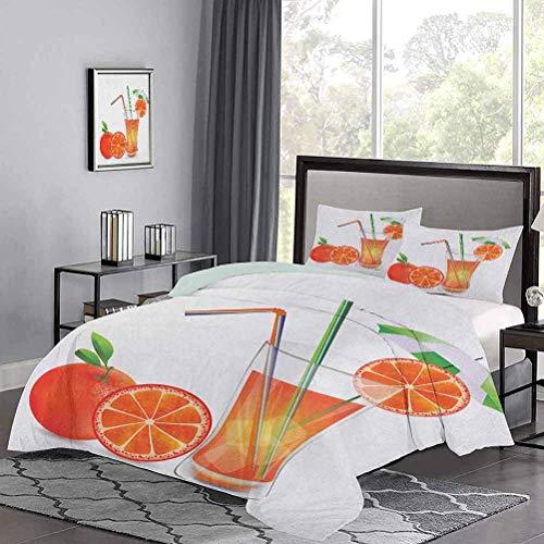 Colchas de colchas Vaso de Jugo de Naranja con Frutas con pajitas de Colores Tema de Verano La Funda de edredón de Estilo Moderno te da un Buen sueño Multicolor