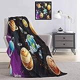 Toopeek - Manta de franela con sistema solar de planetas de forma lechosa Neptuno Venus Mercury, diseño de esfera, súper suave y cómoda, manta de cama de lujo, 60 x 50 pulgadas, multicolor