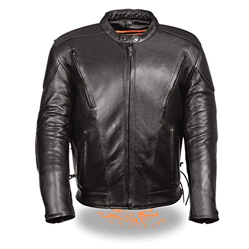 Milwaukee Leather SH1010 Men's 'Scooter' Black Vented Leather Jacket with Side Laces - 3X-Large