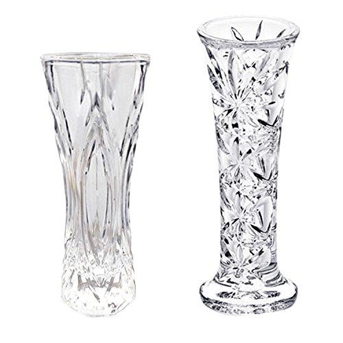 Gosear 2pcs Transparent en Plastique Fleur Vase Vaso Décoratifs Pièce Maîtresse pour la Maison de Mariage Anniversaires Fête Décoration