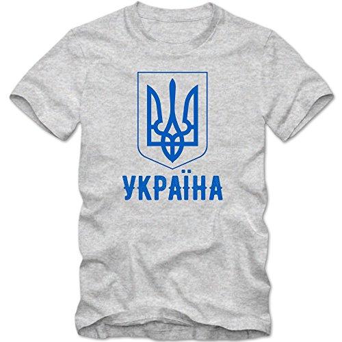 Ukraine T-Shirt |Ukraina |Fußball EM | Kiev |Donezk | Luhansk, Farbe:Graumeliert (Grey Melange L190);Größe:XL