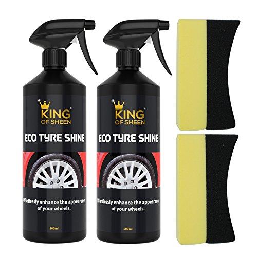 King of Sheen Eco Tyre Shine, 2 x Reifenpflege und 2 x Applikatorschwamm, verbessern Sie mühelos das Aussehen Ihrer Reifen, Doppelpack Flaschen mit je 500ml.