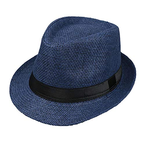 JOYKK Kinder Strohhut Sommer Strand Jazz Panama Trilby Fedora Hut Gangster Mütze Im Freien Atmungsaktive Hüte Mädchen Jungen Sonnenhut - H # Navy