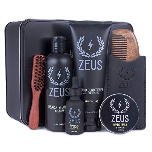 ZEUS Premium Mens Grooming Set - Complete Beard Upkeep Kit - Shampoo, Conditioner, Oil, Balm, Comb, Brush! (VERBENA LIME)
