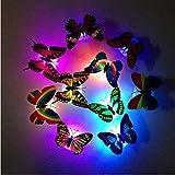 Minkoll Veilleuse LED 3D Papillon 36 pièces textiles de maison élégant Sticker mural pour chambre de bébé