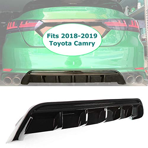 GaofeiLTF Rear Lip Bumper Diffuser Fits 2018-2020 Toyota Camry SE XSE GT Shark Fin Rear Body Splitter Valance Glossy Black