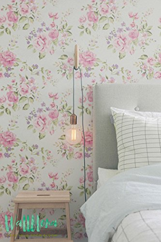 Jardin Rose et Géranium sauvage fleur amovible - Papier Peint - Géranium Sticker mural - Rose de jardin et sauvages Géranium autocollant papier peint, 53 Cm wide by 243 Cm Tall