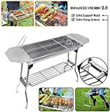 HTTMT Refined Stable Version-2.0 Iron Portable Folding Barbecue Charcoal Grill Stove Shish Kebab Stainless Steel BBQ Patio Camping Fold Large [P/N: ET-COOK003]