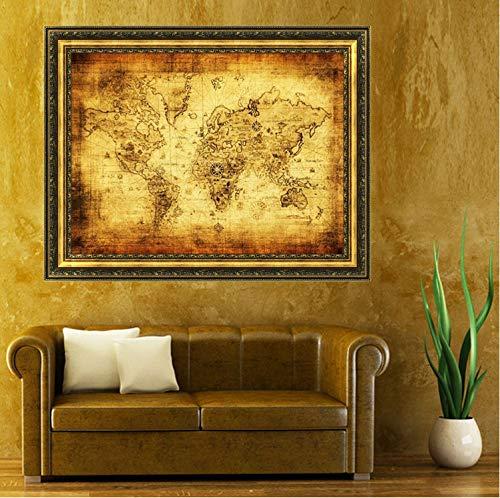 Yirenfeng Vintage Style Retro Tuch Poster Globe Alte Welt Seekarte Geschenke Wandaufkleber Für Kinderzimmer Wohnzimmer