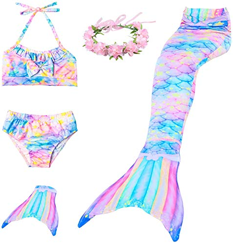 Meerjungfrauenschwanz Schwimmbar Prinzessin Bikini Set Badeanzug Kostüm für Mädchen mit Flosse Gr. 4-5 Jahre, Xrainbow