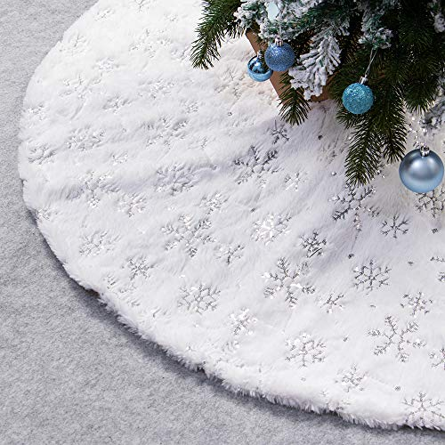 XAMSHOR Sequin Christmas Tree Skirt Soft Plush Mat White Faux Fur Holiday Party Decorations 32 Inch