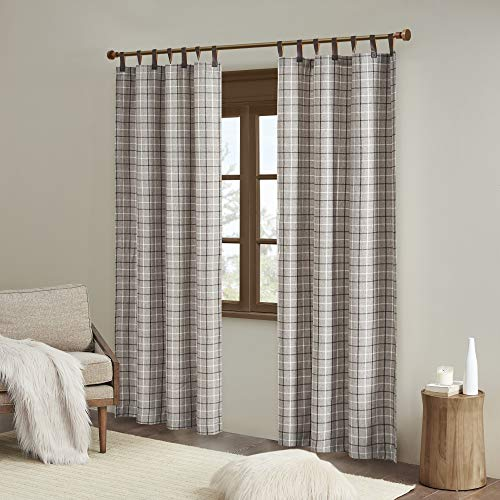 """Madison Park Anaheim Cabin Plaid Curtains Window, Thermal Insulated Fleece Lining Living Room Decor Light Blocking Drape for Bedroom and Apartments, 50"""" x 84"""", Faux Leather Tab, Brown"""