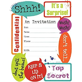 Made from Paper Entertaining Large Novelty Party Invitation Cards 8 Pieces 6 x 4 by Amscan