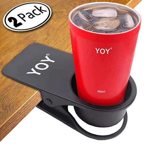 YOY 2 Piece Home Office Table Desk Side Huge Clip Water Drink Beverage Soda Coffee Mug Holder Cup Saucer Design, Black