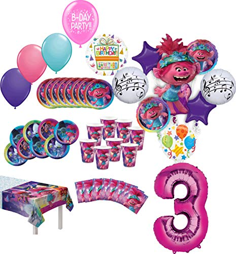 Check Out This Trolls World Tour Party Supplies 3rd Birthday 8 Guest Table Decorations and Poppy Bal...