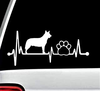 Best Design Amazing Blue Heeler Heartbeat Lifeline Dog Paw Decal Sticker for Car Window 8 Inch and Stick Decals - Made in USA