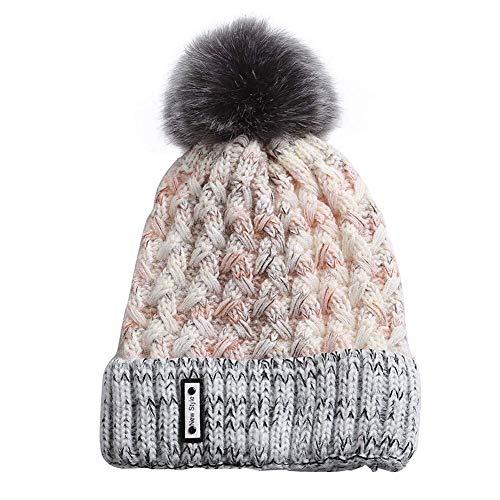 H.ZHOU Frauen-Mädchen-Hut gestrickte Häkelarbeit-Hut-Winter-Wärmer Mode Bobble Cozy Thick-Hut-Hut-Outdoor-Ski Snowboard Hohe Wärmedämmung (Color : Light Gray)