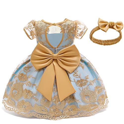 NNJXD Baby Girls Formal Dress Bowknot Baptism Embroidery Tutu Dress with Headwear Size (80) 6-12 Months Yellow 2(with Headwear)