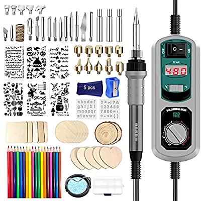 Wood Burning Kit, 84PC Upgraded 60W Digital Wood Burning Tool with ℃/℉ Switch, Wood Burner Tool with Adjustable Temperature 392℉-896℉ for Embossing/Carving/Soldering
