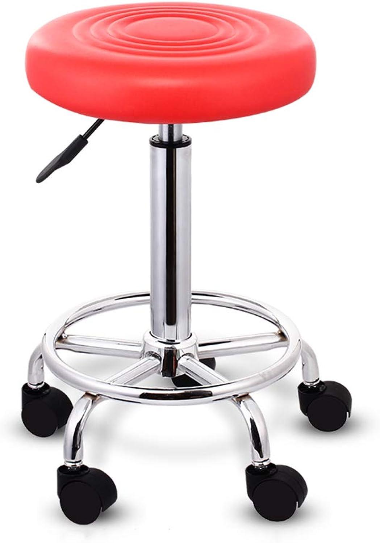 Bar Chair 360° redating Lift Bar Chair High Feet Round Bar Stool PU Leather Chair Red 100kg