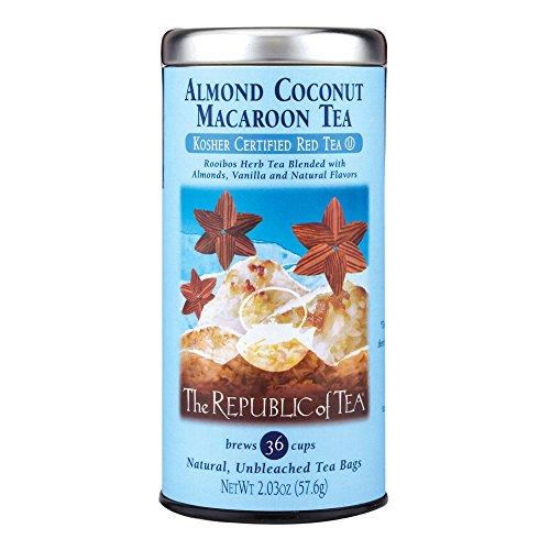 The Republic Of Tea Almond Coconut Macaroon Red Rooibos Herbal Tea, 36 Tea Bag Tin