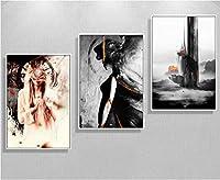 Caanvas絵画インテリアスカンジナビア現実的な図3ピース装飾絵画インテリア壁アートパネルキャンバス写真用リビングルーム40×60センチ/非フレーム