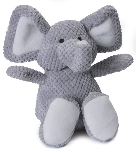 goDog Checkers Elephant with Chew Guard Technology, Plush Squeaker Dog Toy, Large, Gray