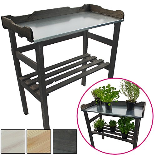 PROHEIM Pflanztisch aus Holz 82 x 78 x 38 cm mit verzinkter Metall-Arbeitsfläche Gartentisch aus...
