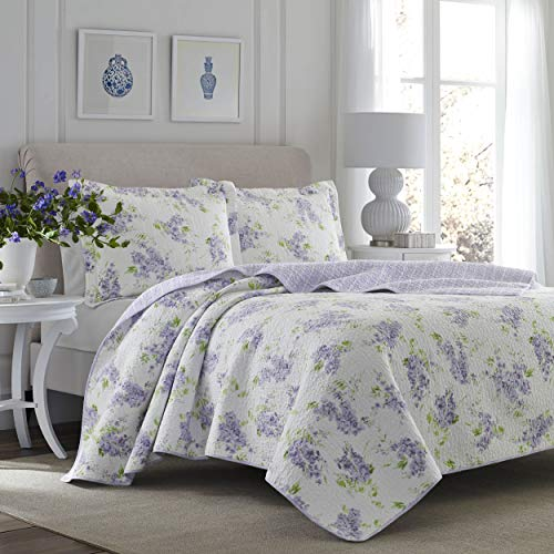 Laura Ashley | Keighley Collection | Luxury Premium Ultra Soft Quilt Coverlet, Comfortable 3 Piece Bedding Set, All Season Stylish Bedspread, Full/Queen, Lilac