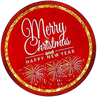 Bundleofbeauty Item#4590 Bridgt and Vivid 50pack Rustic Glitter Red and Gold Merry Christmas Envelope Stickers Seals